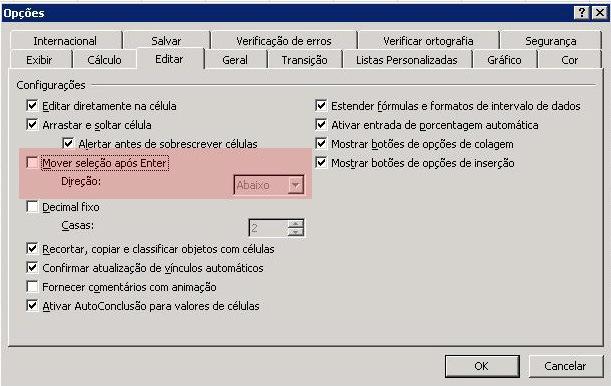 """Excel não funciona Tecla """" Tecla de ENTER e setas, direita, esquerda, para frente e para trás (4/5)"""
