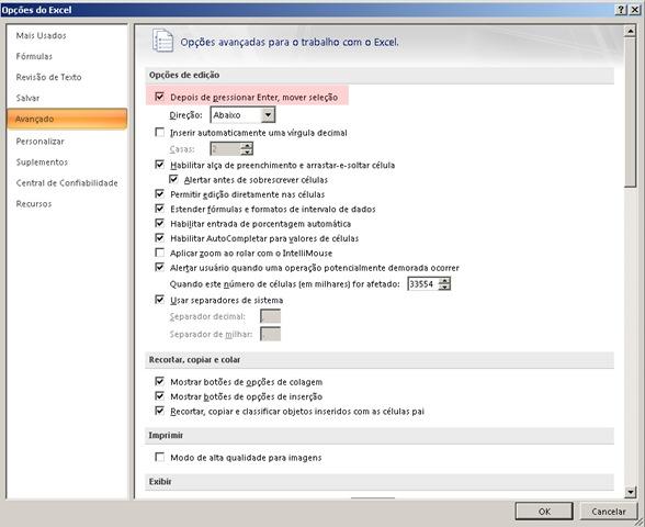 """Excel não funciona Tecla """" Tecla de ENTER e setas, direita, esquerda, para frente e para trás (2/5)"""