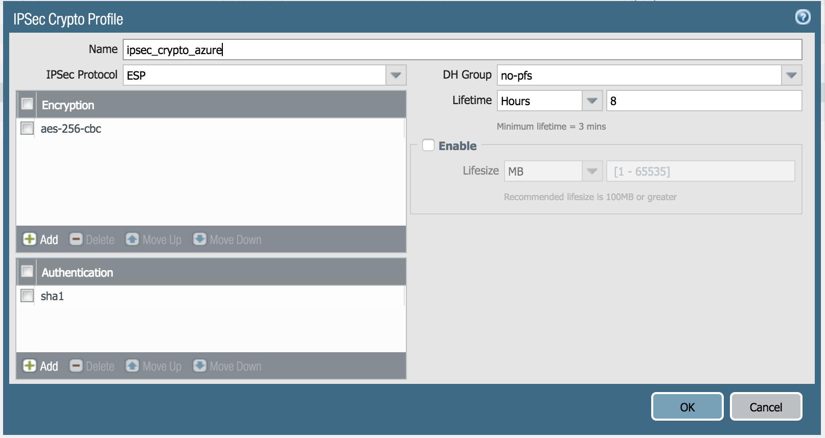 Configuration VPN Palo Alto Networks for Microsoft Azure with VPN